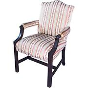 19th C Carved Mahogany Georgian Armchair Chair Silk Side Dining Federal Antique