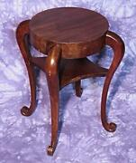 Antique Scrolled Legs Circular Top Lamp End Side Table Coffee Vintage Sofa Stand