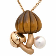 Mikimoto Akoya Pearl 5.50mm Tiger's Eye K18 Rose Gold Pendant Necklace With Box