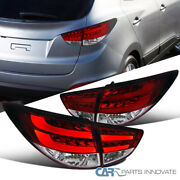 For 10-12 Hyundai Tucson Gl/gls Red Clear Led Drl Rear Tail Lights Brake Lamps