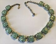 Vtg Signed Coro Green Confetti Lucite Thermoset Gt 17 1/2 Necklace Mint Cond.