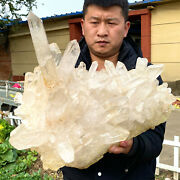 47.69lb Clear Natural And Beautiful White Quartz Crystal Cluster Samples K485