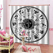Antique Round Black Cool Fan Printing 3d Blockout Curtains Fabric Window