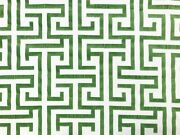 Water And Stain Resistant Beige Green Geometric Art Deco Upholstery Drapery Fabric
