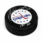 Rod Langway Washington Capitals Autographed Hockey Puck With Hof Inscription