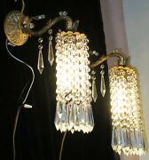 Vintage Sconce French Dining Room Brass Bronze Fountain Waterfall Crystal Lamps