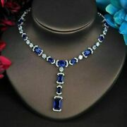 30.00 Ct Emerald Blue Sapphire And Diamond Beautiful Party Ware Tennis Necklaces