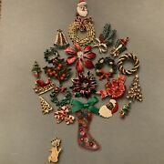 22 Pc Huge Lot Vintage Costume Estate Jewelry Christmas Brooches Pins Gerry's
