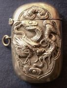1074-antique Silver Chinese Match Safe