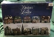 81993 Dickens Of London Porcelain Village 10 Handpainted Houses - 28 Shipping