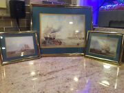 Vintage Sailboats Framed Wall Group Hanging Sailboat Pictures 3 Piece Grouping