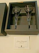 Two Waterford Crystal The Millennium Collection Peace Toasting Flutes Signed