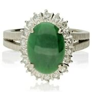 Vintage 18ct White Gold Green Jade And Diamond Cluster Ring - 1970s