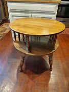 Ethan Allen Heirloom Revolving Drum Table 28 X 26 Tall 10-8586 Pit-1