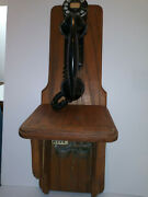 Bell System, Western Electric, 43a, F-1 Wall Phone, Oak Wall Mount And Ringer