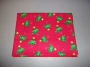 1-decorated Christmas Trees On Red Standard Size Pillowcase New And Handmade
