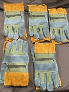 Cowhide Leather Work Gloves Lot Of 5 Size L Padded Large Working