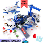 Car Set W/ Transport Cargo Airplane 4 Police Cars 11 Road Signs Kids Toddler Toy