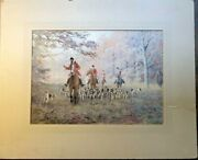 Charles Edward Stewart Ces Signed Watercolor Painting Foxhunt Scotland Art Dogs