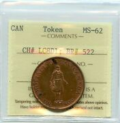 1837 Bank Of Montreal, Half Penny Token Breton 522 Ch Lc-8d1, Iccs Ms-62