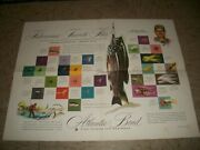 Ted Williams 1953 Atlantic Bond Eastern Corp Fly Fishing Advertising Poster Rare