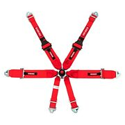 6-point Fia Pull Up Cam-lock Harness W 3 To 2 Upper Shoulder Belts Red