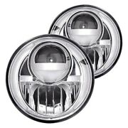 For Ford F-150 1975-1979 Recon 7 Round Chrome Projector Led Headlights