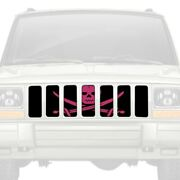 For Jeep Cherokee 84-01 Main Grille 1-pc Ahoy Matey Hot Pink Pirate Flag Style