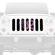 For Jeep Wrangler 87-95 Main Grille 1-pc Center Pink Hearts Breast Cancer Ribbon