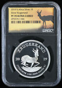 2019 South Africa 1oz Proof Silver Krugerrand 1r Ngc Pf 70 Ultra Cameo