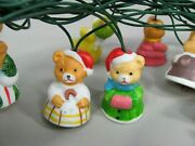 Vintage 90and039s Hand Painted Ceramic Christmas Bear String Lights Lot Of 4 Strands