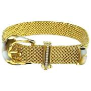 Asch Grossbardt Mother-of-pearl And Diamond 14k Gold Buckle Bracelet