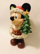 """New🎄jim Shore 17"""" Disney Traditions Large Mickey Mouse 'old St Mick' Christmas"""