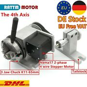 Rotary Table 4th Axis 3 Jaw K11-65 Chuck Ratio 41andtailstock For Cnc Router〖ger〗