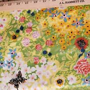 Vtg Polished Cotton Fabric Wild Flowers Hippie Yellow Green Butterflies 3yds 36w