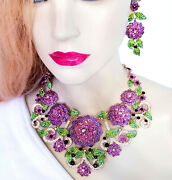 Large Crystal Choker Rhinestone Stage Jewelry Pageant Prom Necklace Set Purple