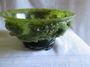 Antique Chinese Spinach Jade Carved Dragon Bowl And Stand