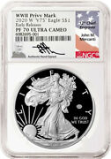 2020-w 1 Proof Silver Eagle V75 Privy Ngc Pf70 Early Releases John Mercanti