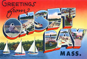 Greetings From Onset Bay, Massachusetts - 1930's - Vintage Postcard Poster