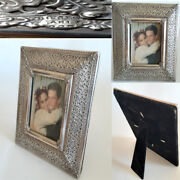 Antique Vintage -photo Picture Frame Ornate And Carved Old Sterling Silver 925