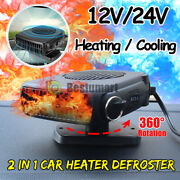 360° 200w Portable Ceramic Car Heater 12v Dc Plug In Vehicle Heating Cooling Fan