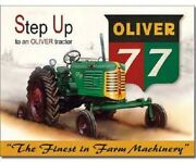 Oliver 77 Step Up Metal Tin Sign Tractor Farming Farm Equipment Wall Decor 1861