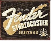 Fender Stratocaster 60th Anniversary Guitar Distressed Metal Tin Sign 1994