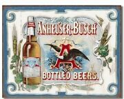 Anheuser Busch Bud Bottled Beers Budweiser Vintage Retro Style Metal Tin Sign