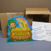 Lot Of 2 Vintage Lucky Charms Cereal Pot O Gold Musical Plastic Banks 1991 Promo