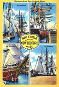 Greetings From New Bedford, Massachusetts 2 - 1930's - Vintage Postcard Poster
