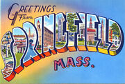Greetings From Springfield, Massachusetts - 1930's - Vintage Postcard Poster