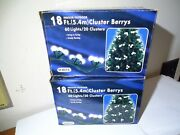 New Lot Of 2 Cluster Berrys Christmas Tree Lights 60 White Bulbs Outdoor 18 Feet