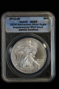 2011 S American Silver Eagle Silver Dollar 1 Anacs Ms 69 Supplemental Issue