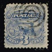 Us Stamp 125 1875 3c Locomotive Blue Without Grill Used 27500